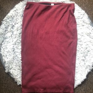 Burgundy, ribbed skirt